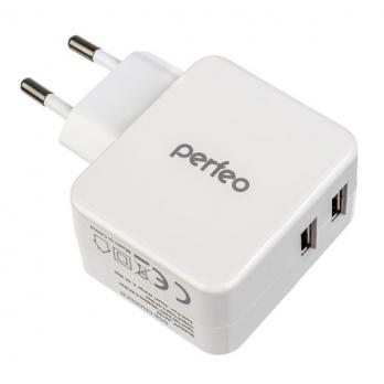 PERFEO Сетевое зарядное устройство с разъемом 2xUSB, 3.4А, белый, «CUBE 2»